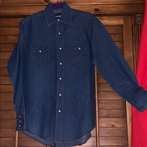8f60b462 Wrangler Shirts | Vintage Western Denim Pearl Snap Shirt | Poshmark